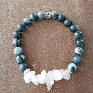 Black Stone & Rose Quartz Beaded Bracelet